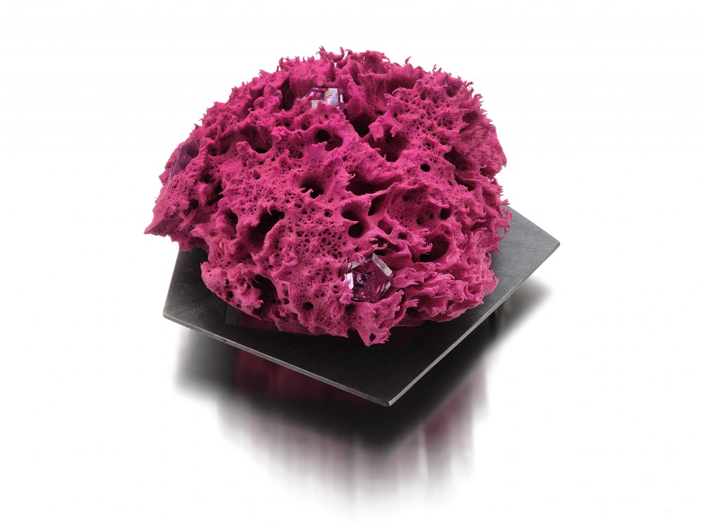 Suspended Pink Brooch – 2012 – AG 925 Black Plated Stainless Steal Colored Sponge Synthetic Stone