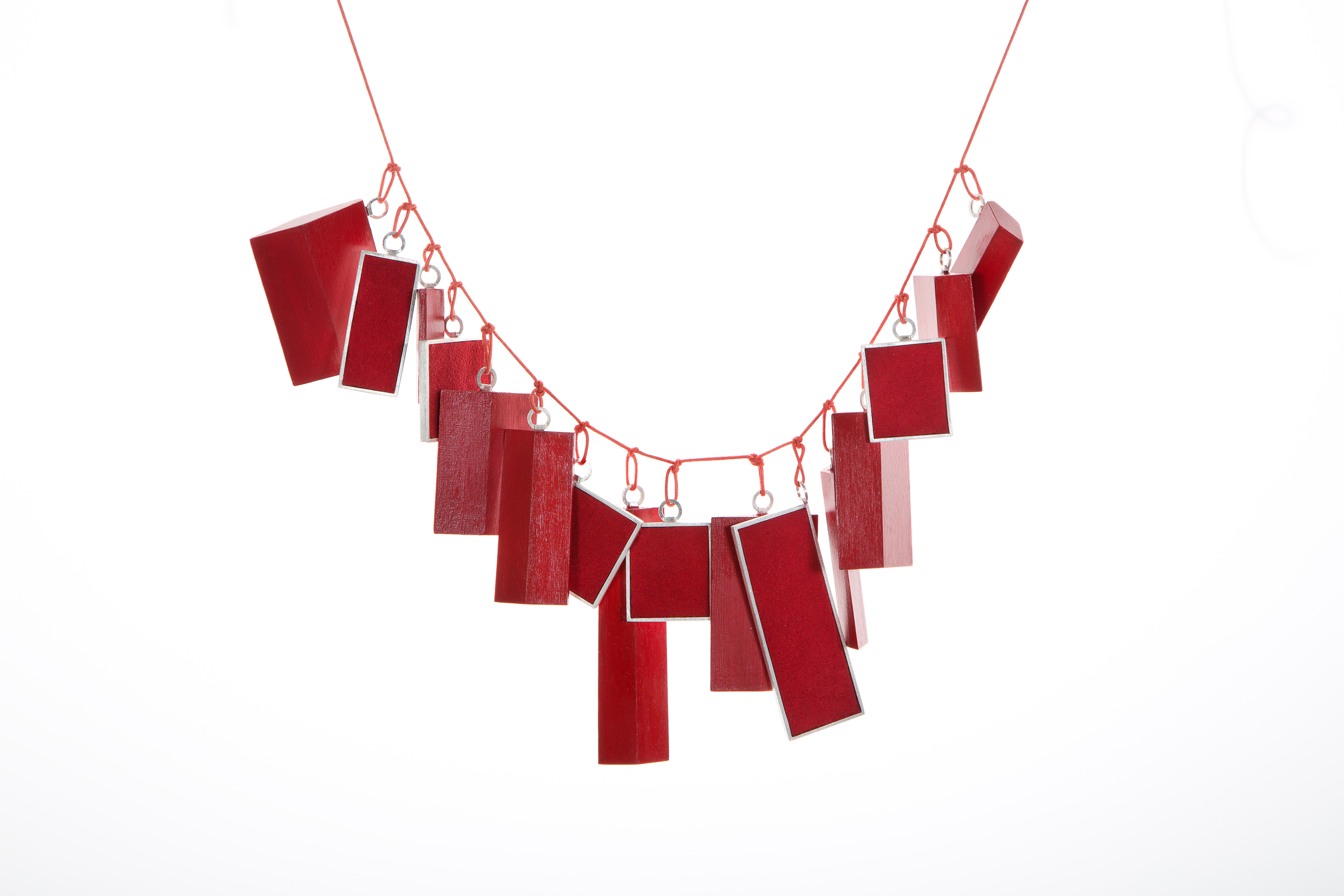 2013 NECKLACE EXTREMLY RED AG 925,OLIVE WOOD,SUEDE LETHER,COTTON WIRE BABETTE VON DOHNANYI